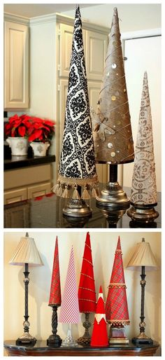 Poster board paper and fabric Christmas trees - craftionary.net
