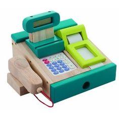 Santoys - Wooden Toys - Food & Shop Role Play - Cash Register and Scanner