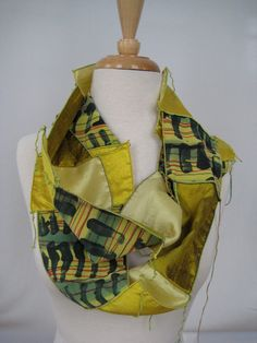 Patchwork Infinity Silk Scarf, Brass & Gold, made from Silk Screened Crepe de Chine and Doupioni, Dianne Koppisch Hricko /// TAFA Market, Yellow Collection: http://www.tafaforum.com/market/tafa-market-colors/