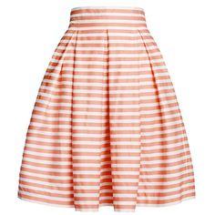 baa7ba1e75aff Rumour London - Amalfi Coral Striped Midi Skirt (330 BGN) ❤ liked on  Polyvore