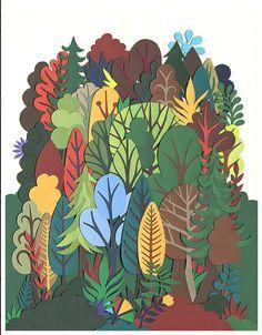 Timothy Karpinski The Forever Forest. 3d Paper Art, Paper Collage Art, Collage Artwork, Paper Artwork, Cut Out Art, Papier Diy, Paper Plants, Autumn Art, Street Art Graffiti