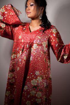 Maxi Dress Boho - Red Japanese Cotton Fabric with Gold Sakura Cherry Blossoms - Long Sleeve Maxi Dress - Women Plus Sizes Clothing. $250.00, via Etsy.