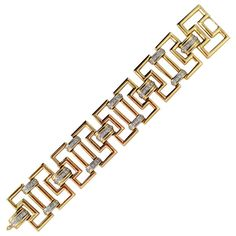 1970s Greek Key Link Diamond Yellow Gold  Bracelet | From a unique collection of vintage link bracelets at https://www.1stdibs.com/jewelry/bracelets/link-bracelets/