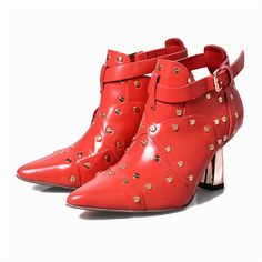 138.88$  Buy here - http://ai7kn.worlditems.win/all/product.php?id=32793408596 - Choudory Rivets Shoes Boots Woman Brand Pumps Spring Autumn Fashion Rivets Women Shoes Lady Buckle Strap Open Spike Square Heels