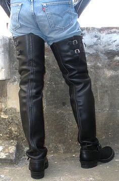 Mens Heeled Boots, Mens High Boots, High Leather Boots, Thigh High Boots, Motorcycle Leather, Biker Leather, Leather Men, Leather Pants, Tall Boots
