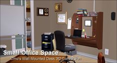 Conversion: Cmo's Wall Mounted Desk Sims 2, Wall Mounted Desk, Small Space Office, Tool Design, Clutter, Locker Storage, Furniture, Community, Home Decor