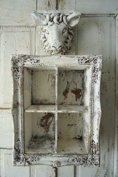 Distressed open cabinet cubby wall hanging w/ sheep accent shelf French farmhouse white heavily aged framed cubbie decor anita spero design