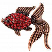 Red Goldfish Crystal Pin Brooch