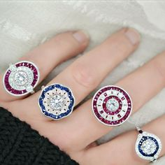 A sample of our new vintage inspired collection #💍 #ruby #sapphire and #diamonds oh my!!! 😍