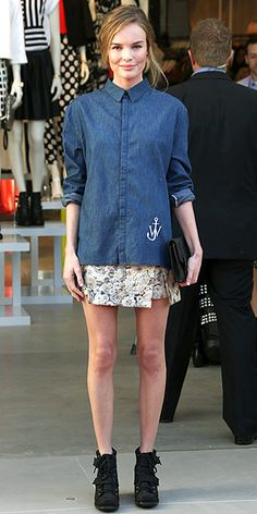 KATE BOSWORTH - A large shirt, tiny floral mini & High-top wedges do not work when you have chicken legs...