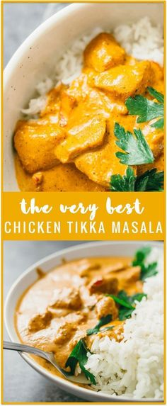 Best chicken tikka masala - restaurant quality, made from scratch, easy to make. Quick to make - most of the time is spent marinating the chicken and only 20 minutes is spent simmering the sauce on the stove. Chicken Tikka Masala Rezept, Chicken Tika Masala Recipe, Indian Chicken Masala, Indian Curry, Chicken Tiki Masala, Garam Masala Chicken, I Love Food, Good Food, Asian Recipes