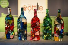 Stained Glass Light Up Wine Bottles With Lights