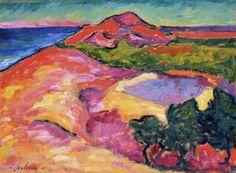 Coast Scene with Red Hill - Jawlensky, Alexej - Blaue Reiter - Oil on wood - Landscape - TerminArtors