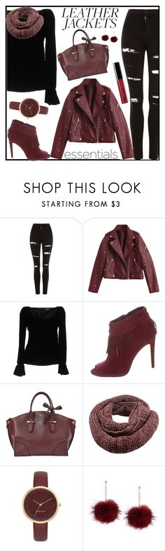 """""""Cool-Girl Style: Leather Jackets"""" by tlb0318 ❤ liked on Polyvore featuring Topshop, Tom Ford, Rebecca Minkoff, Alexander McQueen, Nine West and Bobbi Brown Cosmetics"""