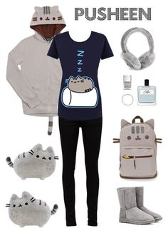 """Pusheen"" by shoujoandmore ❤ liked on Polyvore featuring Yves Saint Laurent, Tiffany & Co., UGG Australia, Nails Inc., Olfactive Studio, cute, teen and pusheen"