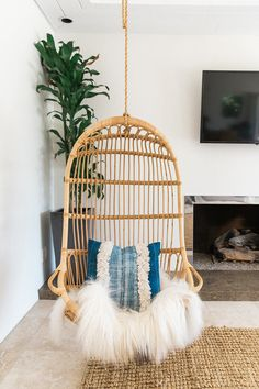 Living room corner with a hanging chair
