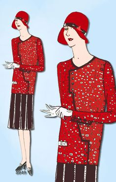 1920s VTG Ladies Home Journal Sewing Pattern 5949 FF Misses Flapper Dress Sz 36B