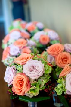Love these #simple + #elegant #bouquets. ::Katherine Marie + Greg's wonderful wedding at Rockmart First United Methodist Church in Rockmart, Georgia:: #roses #orange #peach #pink #white #green #starofbethlehem #floralarrangements #lovely #weddingphotography