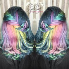 Grey Pastel Hair  Instagram @CryistalChaos #virginiabeach #rainbowhair #braids #unicornhair #pastel