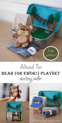 More Like Home: Ewok/Bear Cave Altoid Tin Playset (perfect stocking stuffer! Diy Christmas Gifts, Christmas Projects, Kids Christmas, Christmas Stockings, Felt Crafts, Crafts For Kids, Dog Crafts, Vinyl Crafts, Sewing Projects
