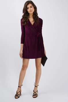 Pleated Velvet Wrap Dress - LFW Streetstyle – Velvet - We Love - Topshop Europe