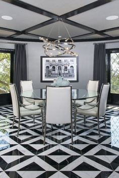 Cut marble dining room floor
