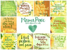 Beautiful Positive Birth Affirmation cards by MamaPixie. This listing is for the Sunflowers design.  These are perfect for putting on your birthing altar, placing around your home or tucked into the corner of mirrors to remind you during pregnancy of your strength and to reaffirm your awareness of trust in your body, your birth, and your baby.