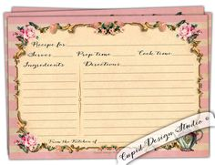 High tea Recipe card. Bridal shower recipe card. Gold pink recipe cards. For the bride stationery. Marie Antoinette. Printable or printed. by CupidDesigns on Etsy https://www.etsy.com/listing/236394468/high-tea-recipe-card-bridal-shower