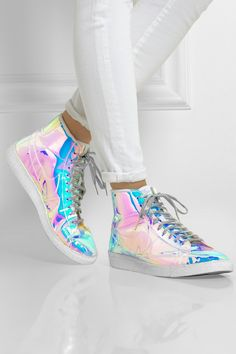 Nike | Blazer Mid iridescent faux leather high-top sneakers | NET-A-PORTER.COM