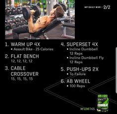 Chest Exercises, Chest Workouts, Gym Workouts, Hitt Workout, Biceps Workout, Full Body Workout Routine, Workout Challenge, Arnold Leg Workout, Muscle Pharma