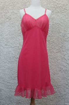 Vintage Bright Pink Red Babydoll Nightie Top by Rogers Tricot Nylon Size Medium Ruching Detail
