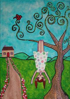 Folk Art Landscapes | Cute Folk Art Painting Whimsical Landscape Tree Girl Blue Green Sweet ...
