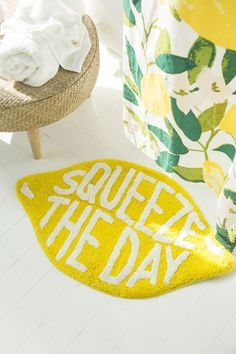 Squeeze The Day Bath Mat! This cute Lemon Bath Mat from Urban Outfitters is so cute! Spruce up your dorm room or first apartment with this adorable mini rug. It's gorgeous, especially if you like novelty fruit, or more specifically, peaches! Urban Outfitters, Bathroom Rugs, Small Bathroom, Bathroom Ideas, Bathroom Remodeling, Master Bathroom, Peach Bathroom, Bathroom Showers, Bathroom Cabinets