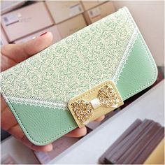 Mint Flower Bling Lace Turquoise Bow Wallet Card Holder Leather Flip PU Leather Wallet Cover Case With Chain For Samsung Galaxy Avant G386T (T-Mobile):Amazon:Cell Phones & Accessories