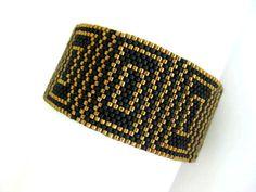 Peyote Bracelet in Light Metallic Bronze and Matte Black Beaded Classic Beadwork Evening Wear on Etsy, $48.00