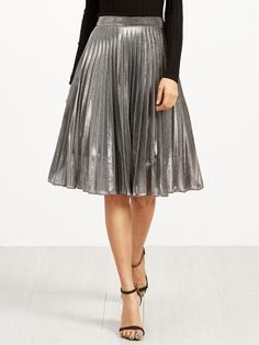 Shop Silver Metal Pleated Skirt online. SheIn offers Silver Metal Pleated Skirt & more to fit your fashionable needs.