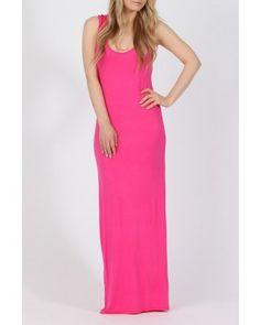 Cerise Pink Racerback Maxi Dress