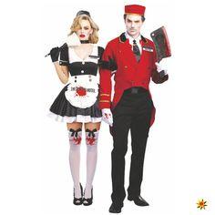 Dienstmädchen und Dienstbote im Zombie-Look für Halloween