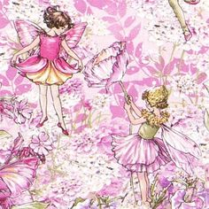 Michael Miller fabric fairies flower meadow butterfly   cute pink fabric with flower fairies, flower meadow and butterflies from the USA