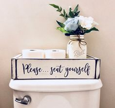 Please...seat yourself! Made from poplar wood, this high quality bathroom box is perfect for the back of that hard to decorate toilet. I don't know about you, but I've never found the right sized basket and it has always annoyed me...until now. Funny AND functional=double win. The