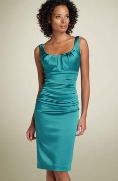 Teal Satin Dress