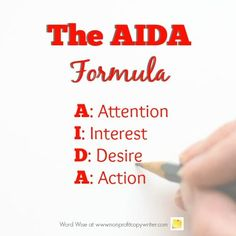 The AIDA Formula is not just for sales letters and copywriting. It's a handy framework for content writing, too. Writing Websites, Writing Resources, In Writing, Writing Tips, Writing Letters, Persuasive Writing Techniques, Sales Letter, Freelance Writing Jobs, Action Words