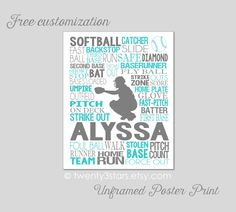 Softball Catcher Typography Art Print, Perfect for Girl's Room Art, You Choose the Colors, Makes a Great Gift for any Softball Team by twenty3stars on Etsy