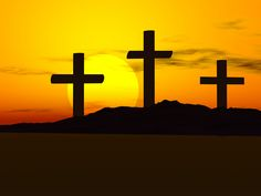 Crosses with sunset-Beautiful reminder of the sacrifice made for all of us.
