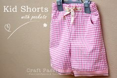 basic kid shorts with pocket sewing pattern