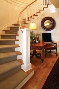 Stair Update - White with wood, plus curved wainscotting, gorgeous!