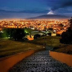 Vista de la ciudad de Puebla desde la piramide de Cholula