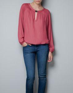 BLOUSE WITH JEWELLED NECKLINE - Shirts - Woman - ZARA Taiwan