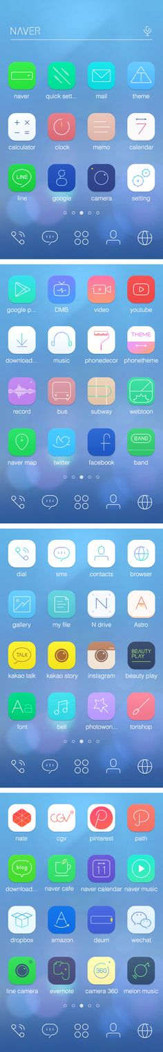 フラットラインを使った様々なアイコン。vivid line theme for Android by Yeolae Kim, via Behance