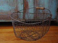 Antique 1800's Primitive Hand Made Wire Potato Gathering Basket
